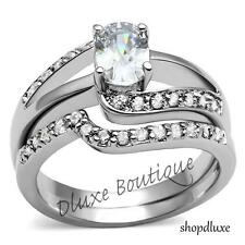 1.50 Ct Oval Cut AAA CZ Stainless Steel Wedding Ring Band Set Women's Size 5-11