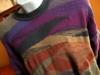 LARGE Cotton AT-EASE Multi-Color  Style Sweater Vtg 90s Mens Biggie Cosby
