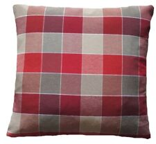 "Checks Cushion Cover White Beige Red Woven Cotton Fabric 16"" 18"" 20"" 22"" 24"""