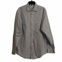 Brooks Brothers Mens 16 35 Blue Slim Fit Non Iron Long Sleeve Button Front Shirt