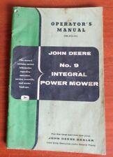 John Deere - No 9 Integral Power Mowers - Operator's Manual- Om-H72-957