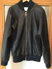 G-Star Raw Mark Newson Men's Navy Blue Leather Bomber Jacket Size Medium