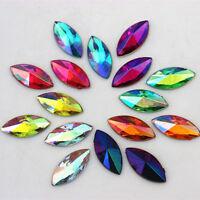 200PCS 7*14mm Horse eye Acrylic Rhinestones Crystal  beads Flat Back beads ZZ356