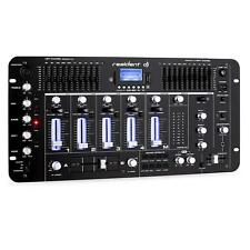 DJ Mixer 4 Kanal Mischpult Mischer Bluetooth USB SD Phono schwarz XLR MP3 Cinch