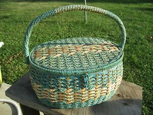 Vintage DRITZ Oval Wicker Sewing Basket Turquoise and Gold Satin Lining