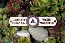 ALTE AUTO EMAILLE KAROSSERIE PLAKETTE # DAIMLER BENZ AG WERK MANNHEIM MERCEDES