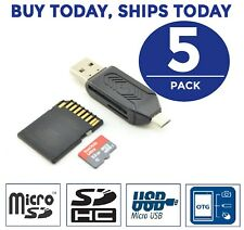 5 LOT 2 in 1 Micro USB OTG to USB 2.0 Adapter SD/Micro SD Card Reader for G