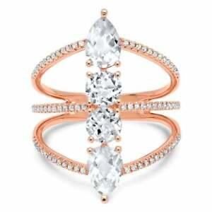 White Topaz Diamond Ring 14K Rose Gold Cocktail Statement Womens Multi Band
