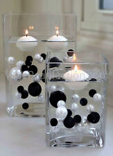 2 Packs Black & White Pearls - No Hole Jumbo/Assorted Sizes Vase Decorations