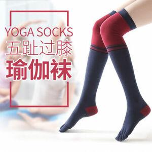 Casual Breathable Non-Slip Yoga Five Toe Socks 2 Pair Over The Knee High Socks