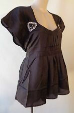 Postie Fashions NEW size 14 black beaded top NWT short sleeve tie back