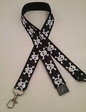 Skull crossbones black lanyard safety clip ID badge holder Xmas student gift