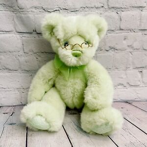 "2002 First & Main Sherbet Baby Lime Green Teddy Bear Plush 12"" W/ Glasses"