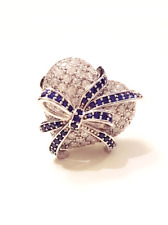 FASHION JEWELRY - Blue Crystal Ribbon on White Rhinestone Heart Silver Ring 7