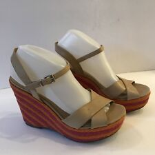 00498774dbe Via Spiga Beige Wedge Sandals Espadrille w  Colorful Heels Women s Sz 9.5