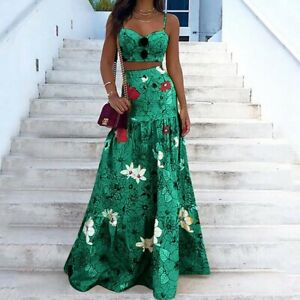 Women's Sexy Slim Sling Maxi Dress Lady Casual Ball Gown Printing Party Dresses