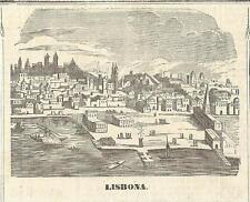 Stampa antica LISBOA LISBONA veduta Portugal 1870 Old Print Gravura antigua