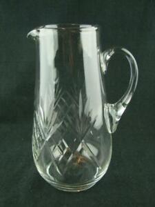 STUNNING EDWARDIAN CLEAR CUT GLASS WATER / LEMONADE JUG / PITCHER, 22.7cm TALL