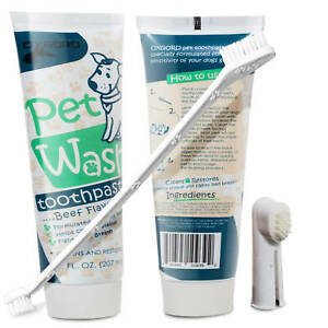 Pet Dog Enzymatic Toothpaste Dental Care Kit w/ Dual Toothbrush (2 Pack) 14 oz