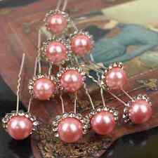 SET 10 Pasadores Estrella Rosa Rosa Claro Boda Flores Perla Estrás Tiara