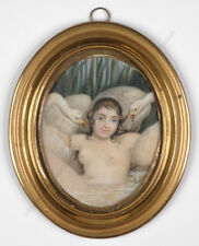 """Betty Froehlich """"Portrait of a young actress as Leda"""" important miniature! ~1820"""