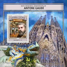 SIERRA LEONE 2016 Gomma integra, non linguellato ANTONI GAUDI 90th Memorial Sagrada Familia 1v S/S FRANCOBOLLI