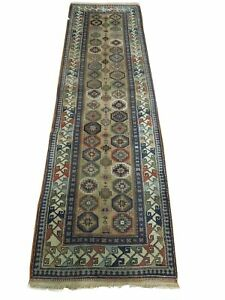 3 x 10 Light Brown Entryway Runner Kazak Original Semi-Antique Russian Rug