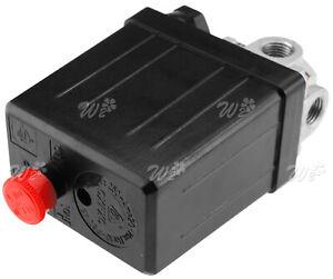 Single Phase 145PSI 10Bar Air Compressor Pressure Switch 4 Port Manifold