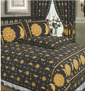 DOUBLE BED DUVET COVER SET SUN AND MOON BLACK YELLOW GOLD STARS BORDER