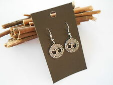 TREE OF LIFE PEWTER CHARM EARRINGS SILVER TONE HOOK RUBBER BACK STOPS JEWELLERY