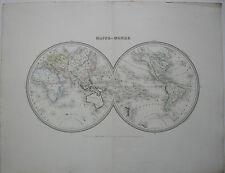 Mappemonde Weltkarte kolor Orig Stahlstich Ambroise Tardieu 1830