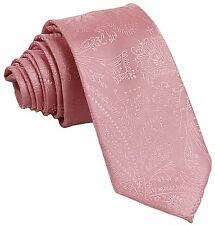 New Men's Polyester Woven Neck Tie necktie only pink paisley prom wedding