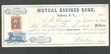 1866 MUTUAL SAVINGS BANK AUBURN, NY BOND CERTIFICATE W/REVENUE STAMP