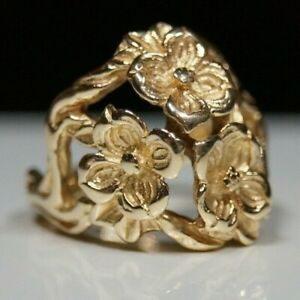 *Retired & RARE FIND* James Avery THREE DOGWOOD FLOWER Ring 14k Gold Size 7