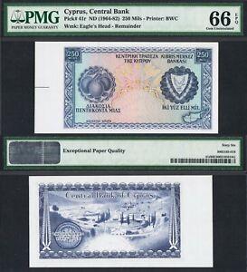 1964-82 CYPRUS 250 MILS P-41r PMG 66 EPQ> >OLIVES LIMESTONE QUARRY REMAINDER NR