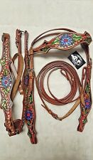 New Grand Entry Barrel Racing Set Floral W/Bling Leather Bridle & Breast Collar