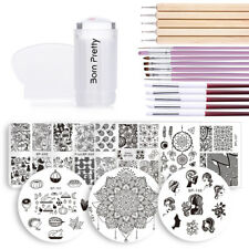 BORN PRETTY Nail Art Stamping Plate Stamper Scraper +17Pcs Nail Brush Collection