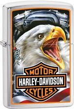 Zippo HD Harley Davidson Mazzi Brave Eagle Shield Brushed Chrome Lighter 29499
