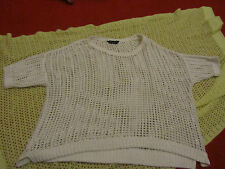 "White & Silver Stringy See Through Short Sleeve Jumper Size 2XL NWOT - 62"" Chest"