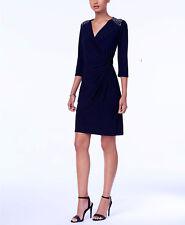 R & M Richards Embellished A-Line Dress navy blue size 16