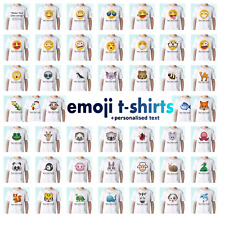 Emoji t shirt emoticon tee funny animals top personalised gift smiley face meme