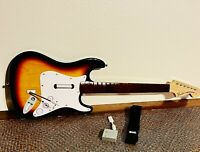 Rock Band Nintendo Wii Fender Stratocaster Guitar With Dongle & Strap - TESTED!