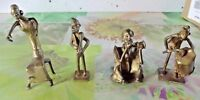 4 Ancien Personnages Statue Guerre Chasse Africains Mythologie Guerriers Bronze