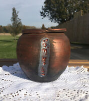 "Michael Hieber Signed Raku Bronze Glaze Art Vase ""The Secret of Growth"" 1988"