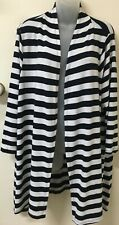 AUTOGRAPH Navy/White Striped, Draped, 3/4 Sleeve Cardigan -18- Exc Con