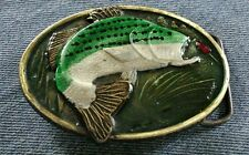 FISH BASS FISHING LURE COLORED DETAILED UNDERWATER SCENE FISHERMAN BELT BUCKLE