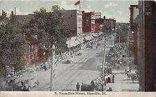 B60/ Danville Illinois Il Postcard 1914 North Vemilion Street Parade Stores