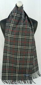 BURBERRY SCARF 100% LAMBSWOOL FOR MEN AND WOMEN MADE IN ENGLAND DARK GREY TH