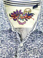 Robert Graham Mens Blue Paisley Long Sleeve Flip Cuff Shirt Size XL