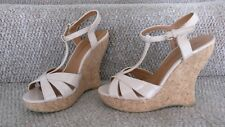 Nude wedge cork heel sandals high heels size 7